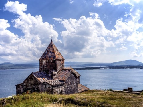 Stone Church By River, Central Asia Tours